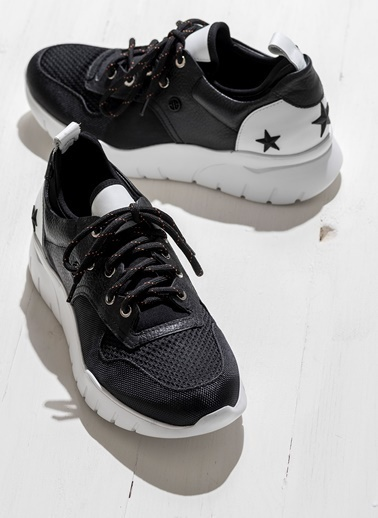 Elle Bağcıklı Spor Ayakkabı Siyah